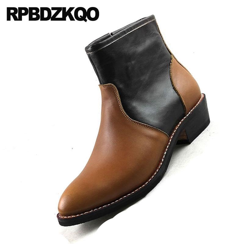 Grain Retro Leder Westlichen Echtes Stiefel Full Schuhe Herbst Cowboy Plus Brown Ankle Mens Cowgirl Chunky Luxus Reißverschluss Größe Spitz TH0qng5R