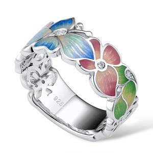 Image 4 - SANTUZZA gümüş yüzük kadınlar için 925 ayar gümüş moda çiçek yüzük kadınlar için kübik zirkonya Ringen parti takı emaye