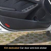 QHCP Carbon Fiber Car Door Side Edge Protector Pad Anti kick Anti dirty Cover Stickers 4pcs for KIA Series K2 K3 K5 KX3 Forte