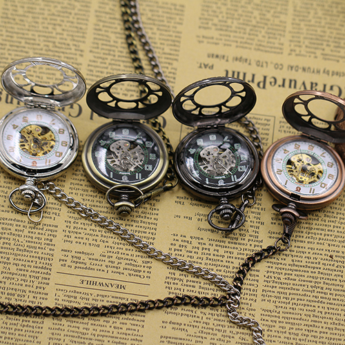 Unisex Vintage Round Carved Hollow Lid Dial Curb Chain Quartz Pocket Watch Gift