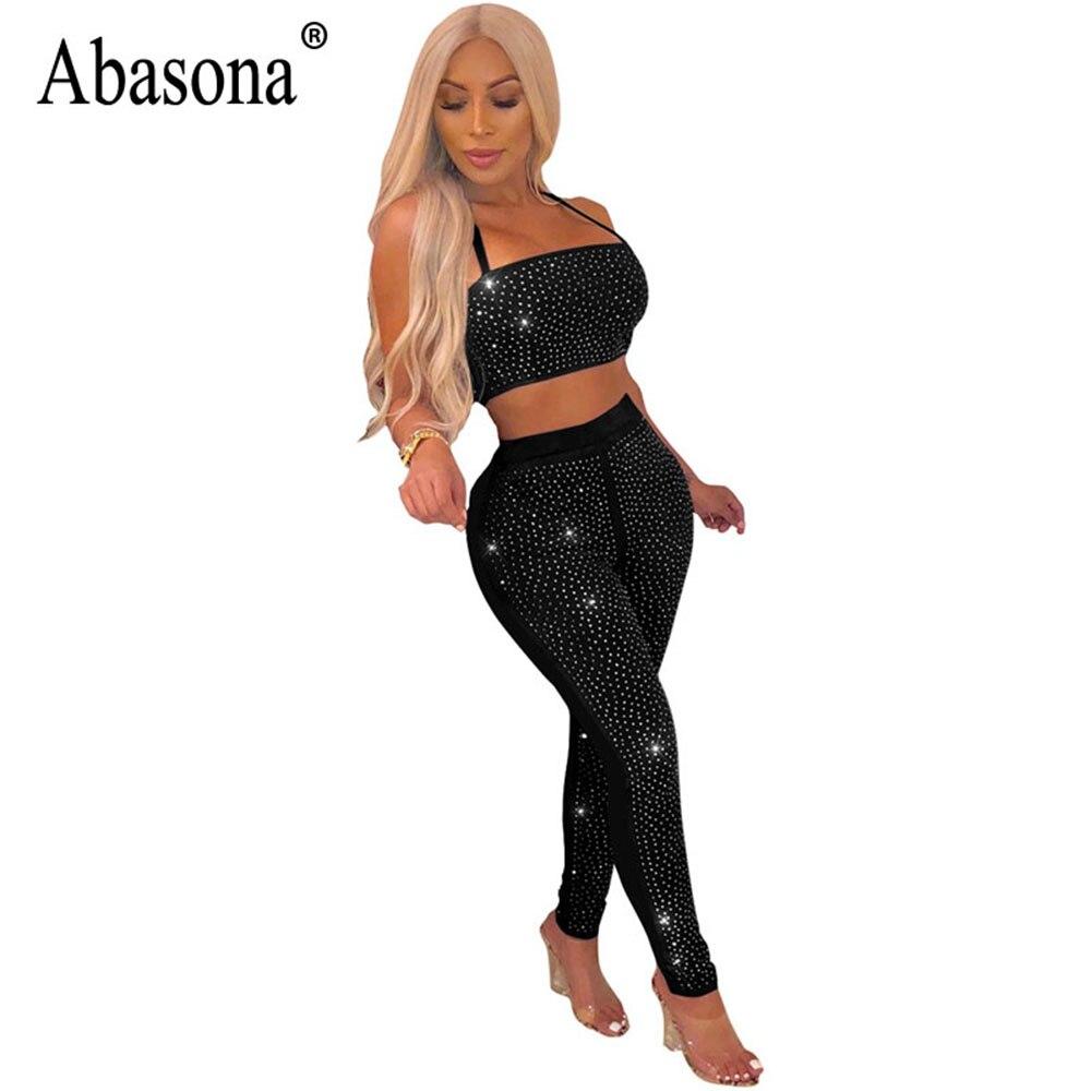02f477674ad3 Abasona Women Black 2 Piece Sets Diamond Jumpsuit Clubwear Hollow Out Sexy  Women Halter Romper Ladies