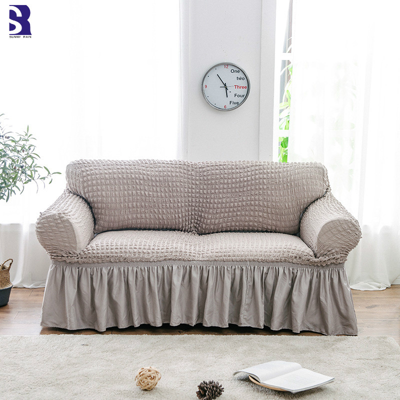 SunnyRain 1 Piece Thick Knitted Elastic Sofa Cover For Living Room I Shaped Sofa Covers With