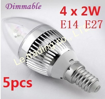 5pcs/lot E14 E27 Dimmable 4X2W 8W 85V-265V Candle LED Lamp LED Light Candle Bulbs With Good Quality Free shipping by DHL