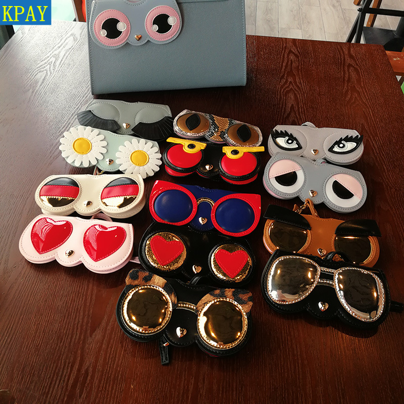 2019 Fashion Hot Animal Cartoon Women Portable Case PU Leather Sun Eye Glasses Box For Eyeglass Sunglasses Cute Protection Bag in Eyewear Accessories from Apparel Accessories
