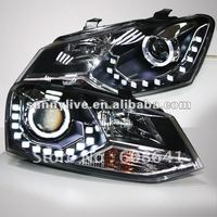 For VW Polo LED Angel Eyes Head Lamp 2011 12 year