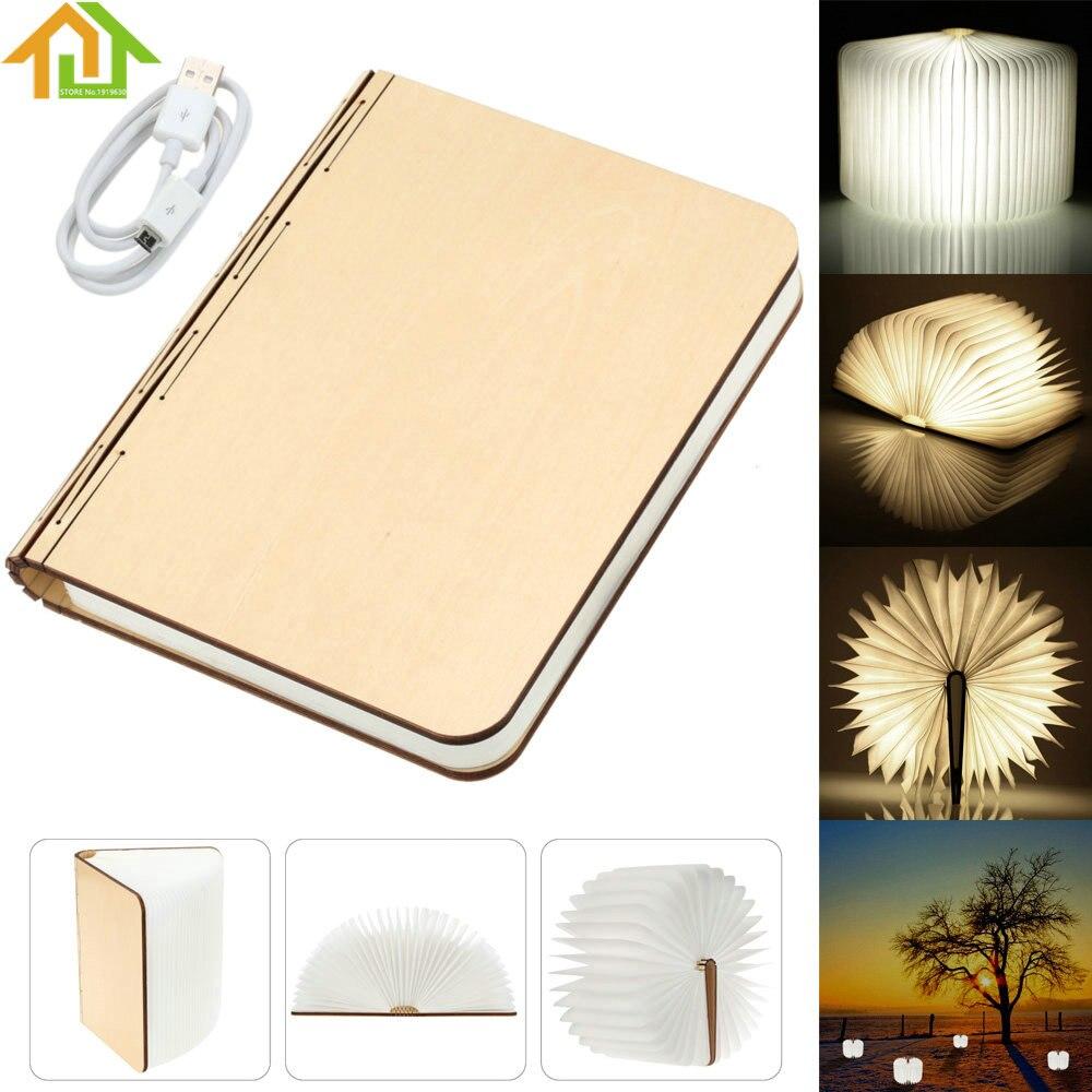 USB Rechargeable LED Wood Turning Books Nightlight  Folding Lamp Book Creative Fashion Gift Table Lamp creative flip book page led nightlight