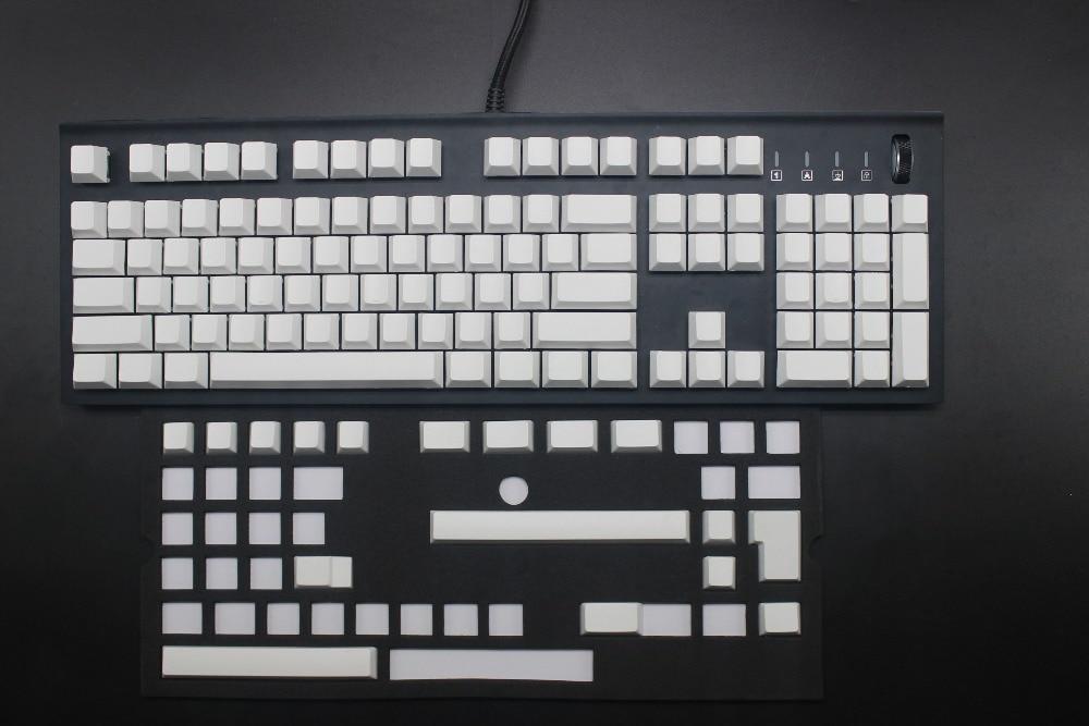 White Gray Cherry Profile 121 Key ANSI ISO Smooth Feeling Blank PBT Keycap For Cherry MX