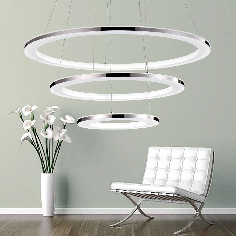 3 ring acrylic Chandelier Modern round pendant lamp 90-260V 30/50/70/90CM The dimming co ...