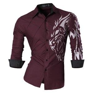 Image 5 - Jeansian di Modo degli uomini di Camicie Eleganti Casual Manica Lunga Slim Fit Tatoo Elegante Z030