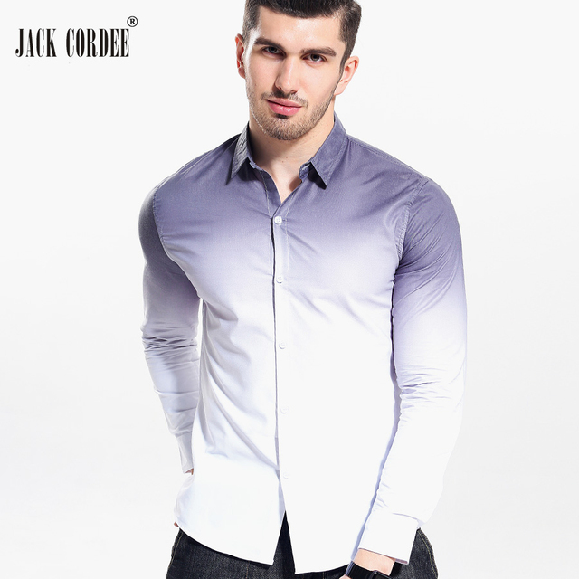 Overhemd Wit Slim Fit.Jack Cordee 2017 Mode Mannen Overhemd Wit Gradient Slim Fit