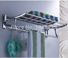 Luxury Solid Brass Bathroom Wall Mounted Bathrobes & Bath Towel Racks Polished Chrome Bathroom Towel Shelf
