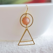 цена на a Pair Sunstone Natural Stone Birthstone Solitaire Round Triangle Geometry Long Copper Drop Earrings For Women Vintage Jewelry