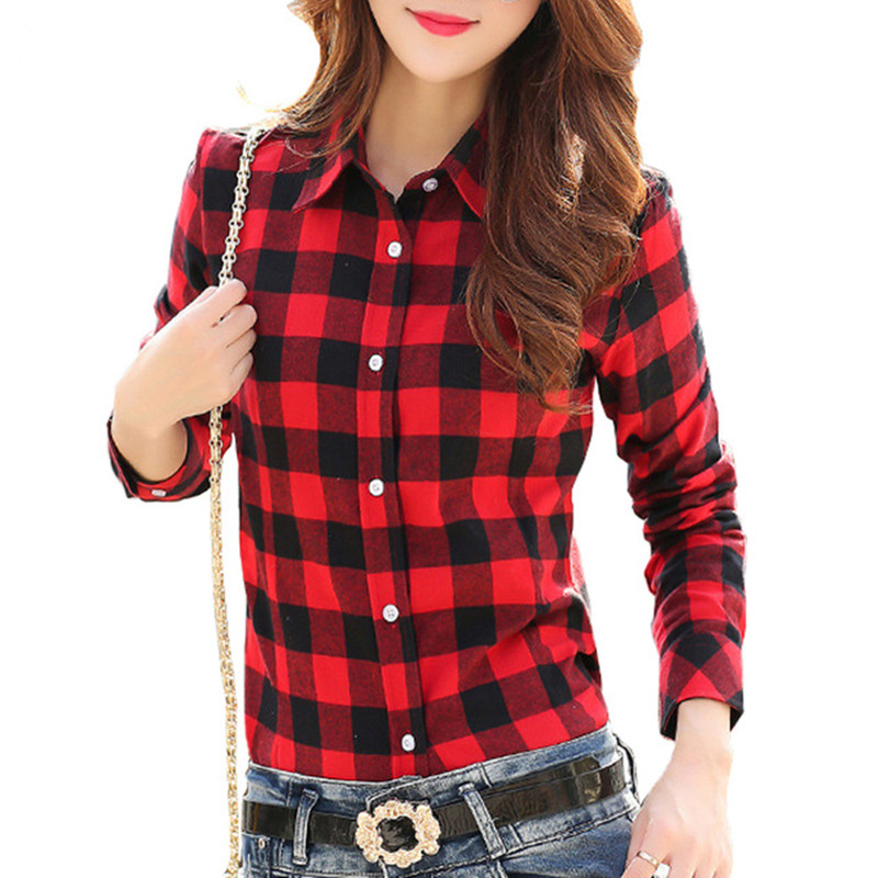 Spring Autumn Winter Casual Vintage Women Plaid font b Shirts b font Top 100 Cotton Long