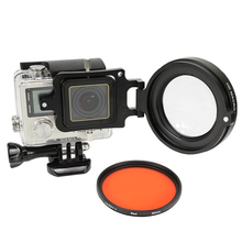 цена на 58mm Red Filter + 16X Macro Lens With Adapter Ring For GoPro Hero 4/3+ Camera Underwater Waterproof Case go pro Accessories