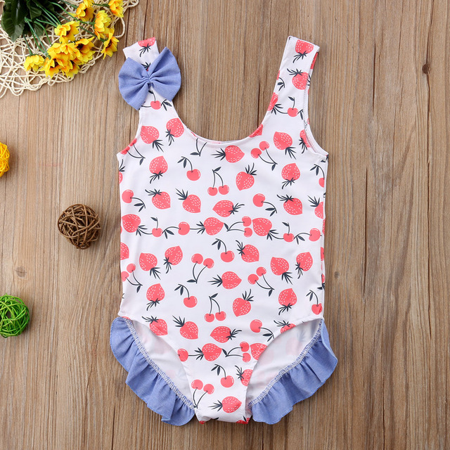 2018 bebé niña niños traje de baño lindo traje de baño de una pieza Bikini niños ropa de playa bañador fresa cereza Monokini