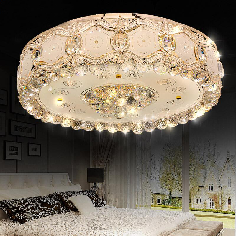 Modern round living room crystal LED European style high grade atmosphere S gold bedroom hall lighting ceiling lamp LO8186