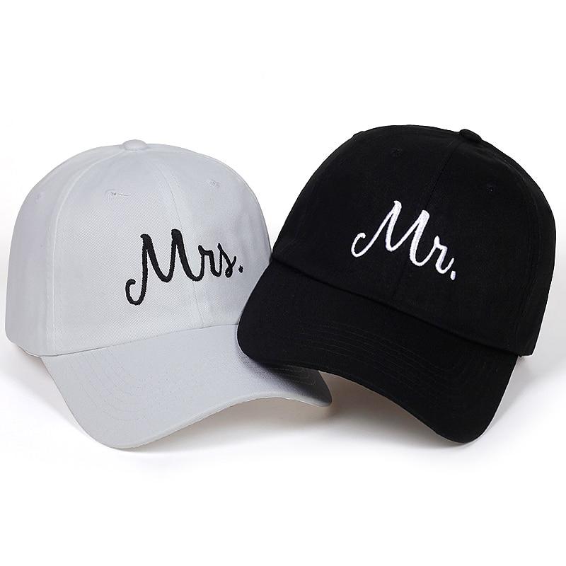 Mr. Mrs. Letter Embroidery   Baseball     Cap   Washed Soft Cotton Snapback Hats Men Women Couple Gifits Adjustable bone Gorras