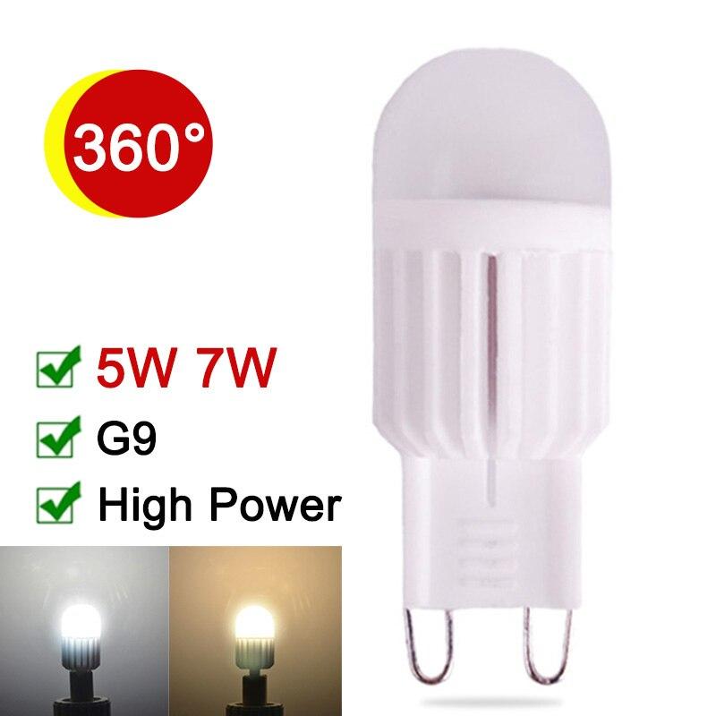 NEW Ceramic G9 LED Bulb 5W 7W G9 LED Lamp Dimmable 220V 240V  G9 Corn Light High Power Energy Saving Chandelier Lampadas 5 1w led bulb with ceramic housing