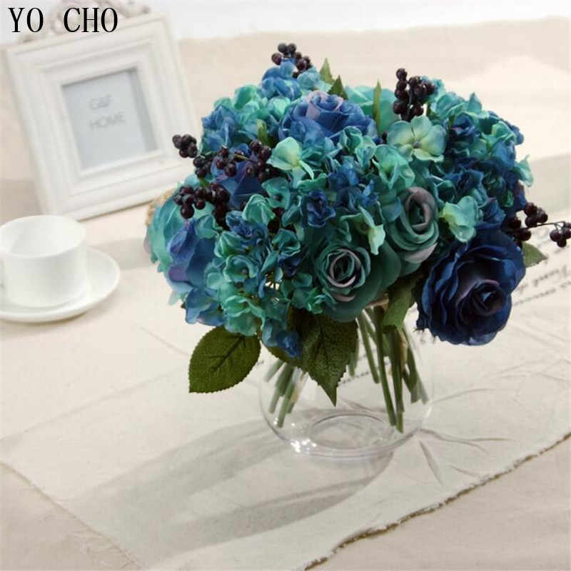 Detail Feedback Questions About Home Decoration Artificial Blue Rose