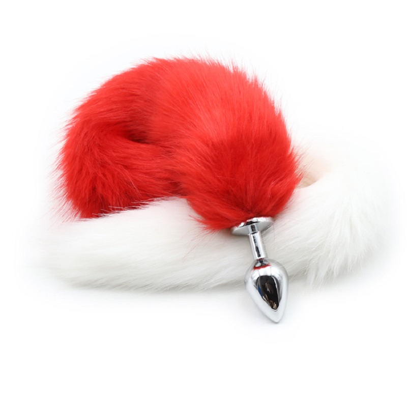 New red white long 80cm length fox Tail small medium Large Anal Plug Metal Butt plug Rol ...