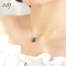 CSJ Aurora Pendant Sterling 925 Silver Halo Crystal Necklace for Woman Femme Lady Girl Party Elegant Fine Jewelry Gift 2018