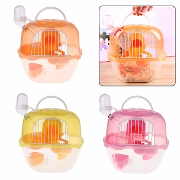 Hamster Cage Outdoor Portable Travel Double Layer Living House Carrying Plastic Habitat Cages Small Animal Supplies 1
