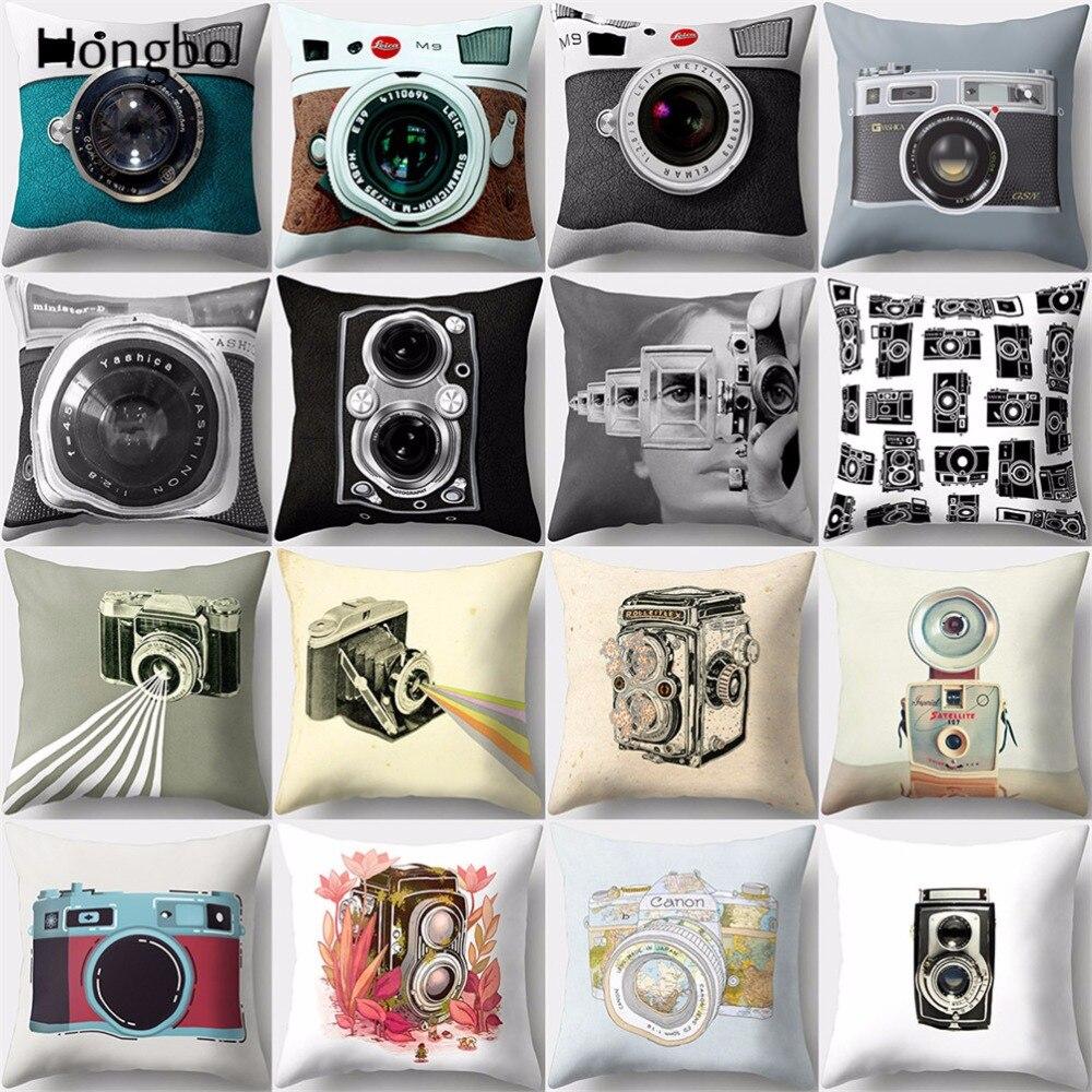 Hongbo 1 Pcs Vintage Camera Cushion Cover Retro Home Decor Peach Skin Throw Pillow Case Sofa Cushions Covers