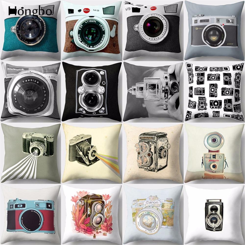 Hongbo 1 Pcs Vintage Camera Cushion Cover Retro Home Decor Throw Pillow Case Sofa Cushions Covers