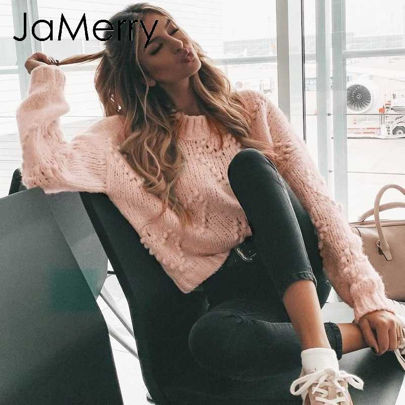 JaMerry Vintage roze hairball herfst winter truien dames Lange mouwen casual trui 2019 Fashion chic losse gebreide jumper