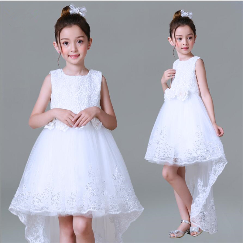цена 2018 New Arrivals Girls Formal Dress Children Graceful Mullet Dress White Wedding Piano Performing Party Dresses For 4-14T