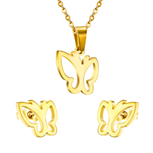 Luxurious Jewelry stainless steel set,Fashion Butterfly Earrings And pendant summer jewelry findings rhinestone jewelry set