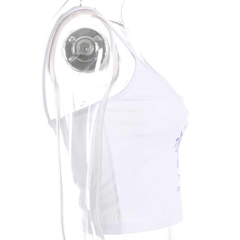 الأزياء زاوية مطبوعة كاميس النساء اقتصاص مثير عارية الذراعين بروتيل الصيف الشارع الشهير Feminino المحاصيل أعلى المحملة قميص فام