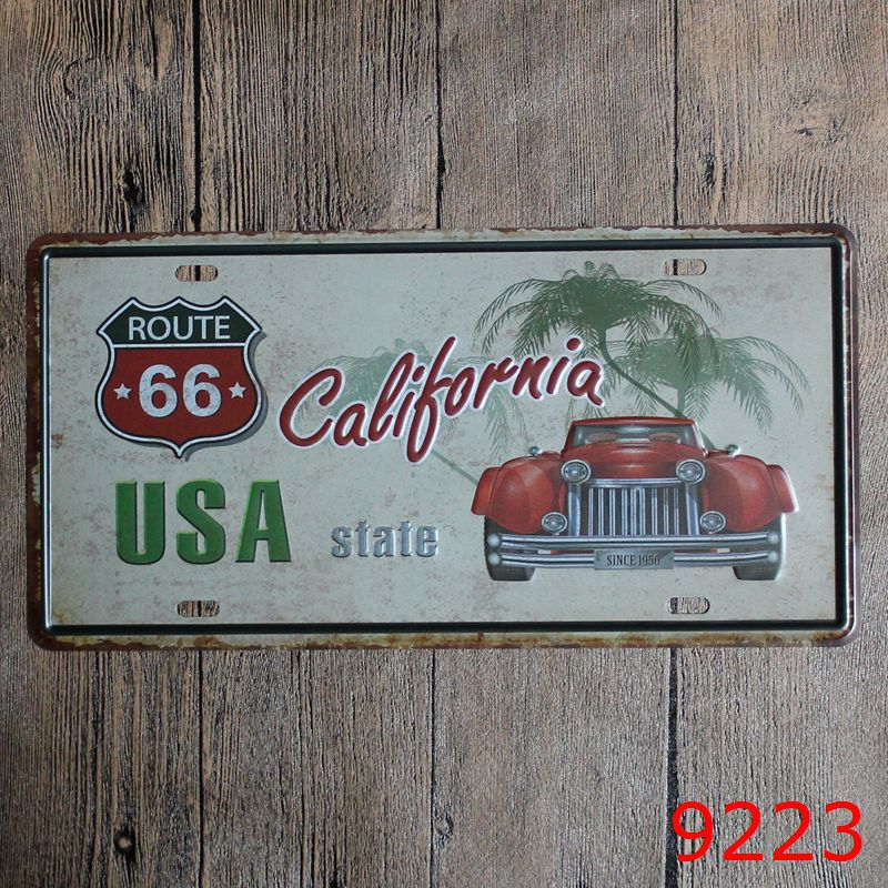 LOSICOE Vintage license plate USA ROUTE 66 Metal signs home decor Office Restaurant Bar Metal Painting art 15x30 CM