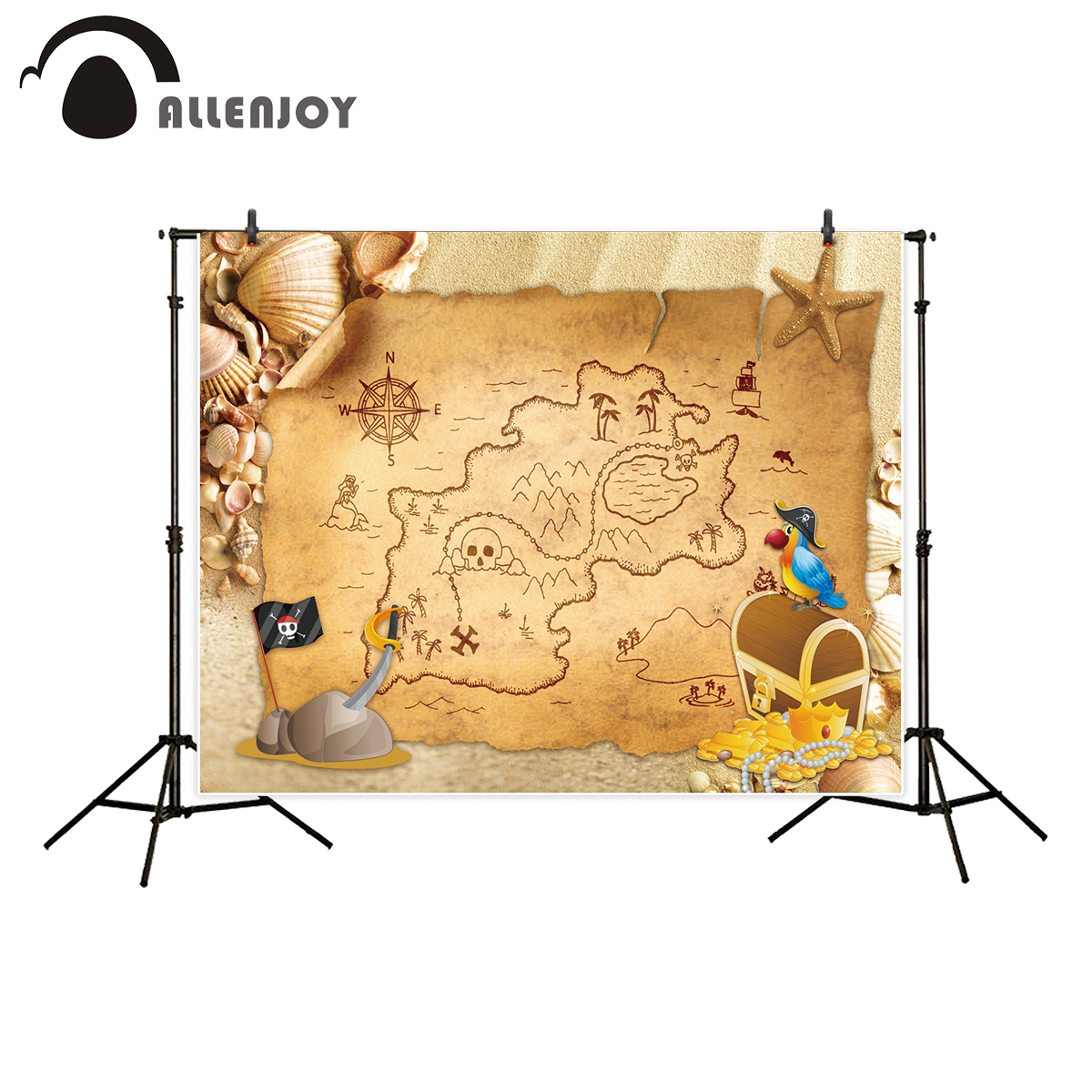 Allenjoy background for photographer pirates treasure map beach parrot shell backdrop photo studio photo prop professional allenjoy photo backdrop retro vintage flowers noble mystery professional vinyl background pictures background for photo studio