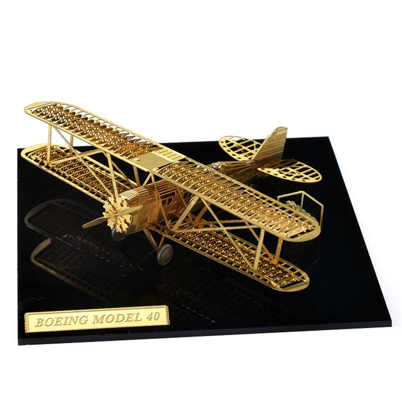 1/160 Boeing 40 DIY Model de aeronavă Nu este nevoie de adeziv Metal asamblat puzzle 3D Propulsorul se poate roti Cadou pentru copii