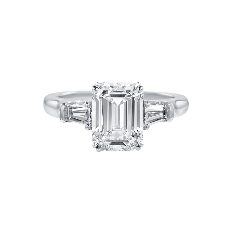 Luxury 3 Stones Emeralded Cut Ring Brilliant Sona Jewelry Engagement Wedding Ring 925 Sterling Silver Women