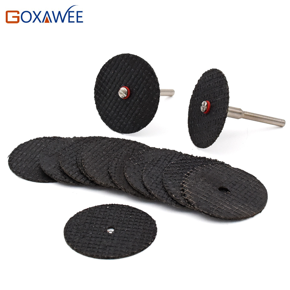 GOXAWEE Resin Cutting Disc Grinding Wheel Abrasive Cutting Discs Mini Drill For Dremel Rotary Tool Accessories 10pcs & 2Mandrels