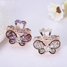 Hot Sale 1PC Rhinestones Hair Claws Cute Crown Barrettes Crystal Mini Butterfly Hairpins Accessories