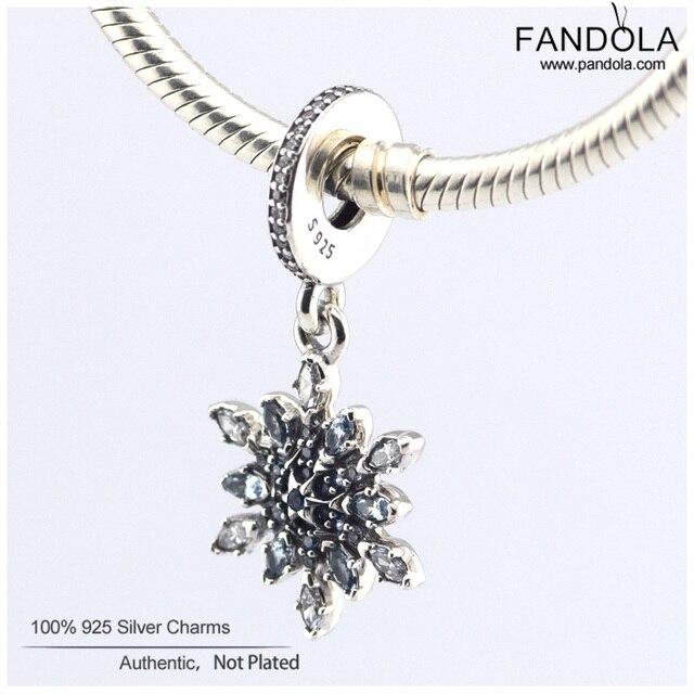 Serve para pandora charme pulseiras de prata esterlina 925 cristalizada do floco de neve dangle perla o encanto para fazer jóias cristais azuis & cz