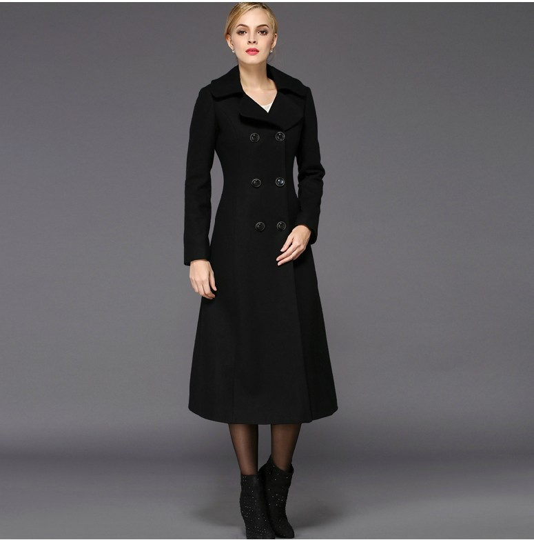 Women winter coats 2017 jacket women's turn down collar double breasted wool  coat slim long outwear plus size thick overcoat-in Wool & Blends from  Women's ... - Women Winter Coats 2017 Jacket Women's Turn Down Collar Double