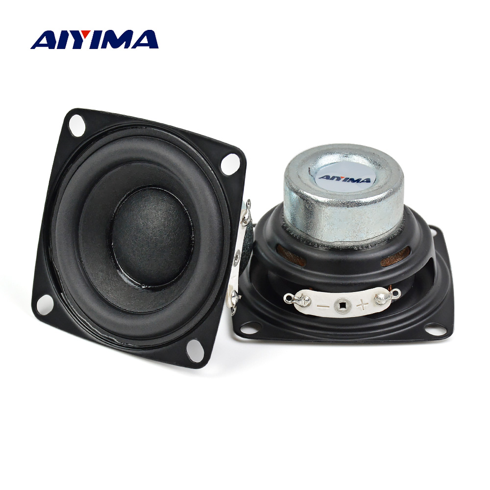AIYIMA 2Pcs 2inch Full Range Speakers 20 Core 4Ohm 10W Enthusiast DIY Flat Arc Rubber Edge Neodymium Magnet HiFi Speaker