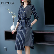 DUOUPA 2019 Summer New V-neck Tie Five-point Sleeve Waist Was Thin Irregular Long Stripe Dress