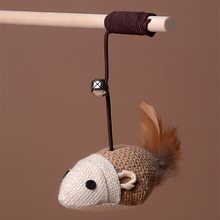 Artificial Mouse Toys Dangle Wooden Rod Funny Play Training Elastic Rope Pet Cat Bell Toys Faux Mouse Cats Toy Supplies Goods