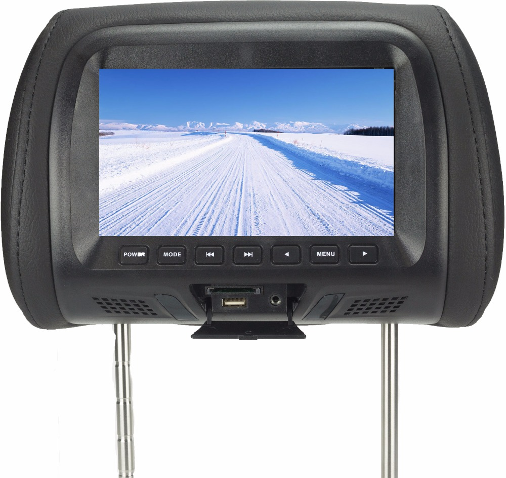 New 7 inch Car Headrest Monitor TFT-LED Screen Pillow Monitor with AV USB SD MP5 FM Built-in Speaker three colors SH7048-MP5 new 9 inch portable headrest monitor mp5 player led screen car monitor built in speaker support usb sd card reader fm sh9088 mp5