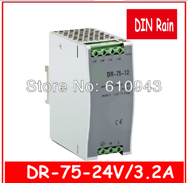 DR-75W-24v  Single Output Switching power supply for LED SMPS AC to DC single output uninterruptible adjustable 24v 150w switching power supply unit 110v 240vac to dc smps for led strip light cnc