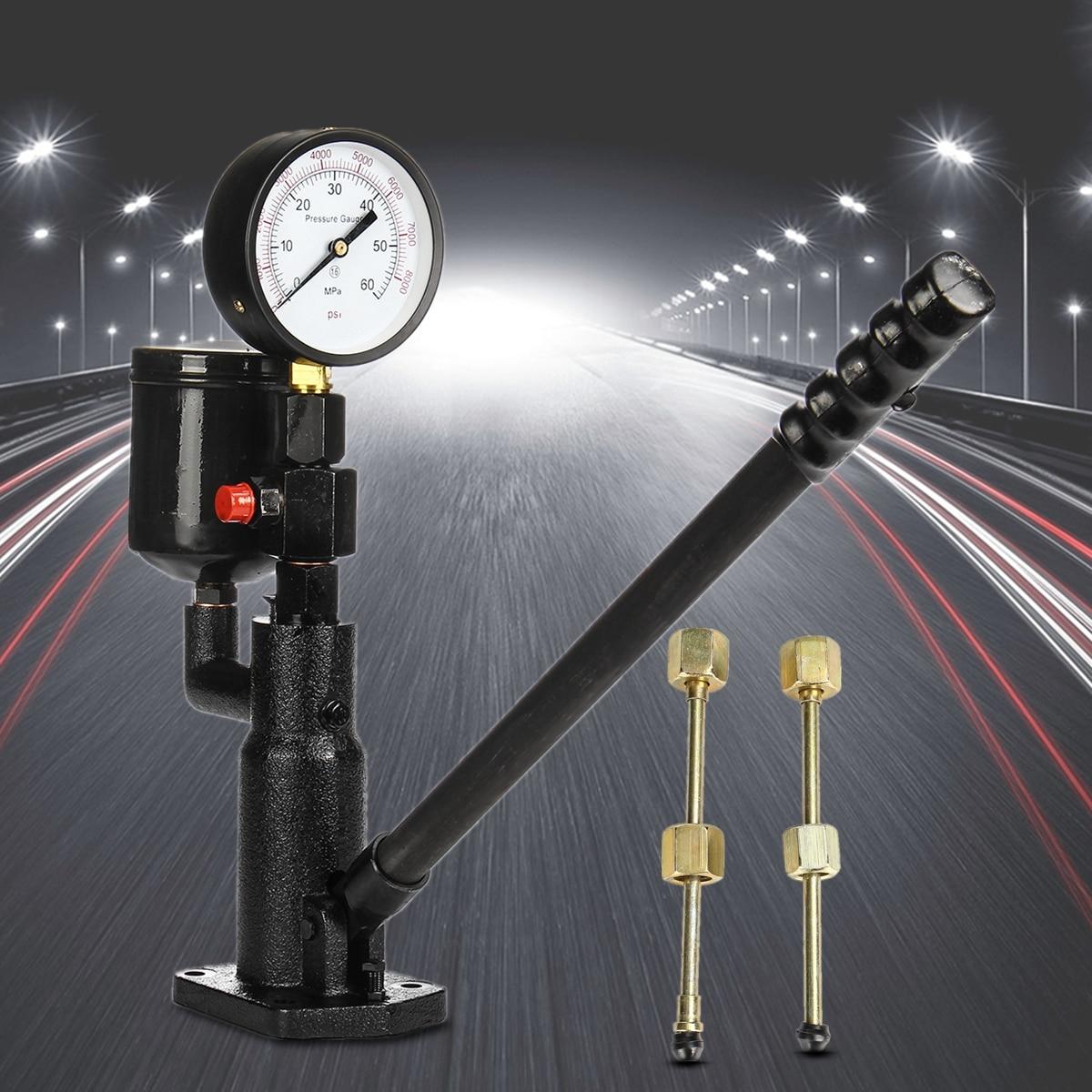 Bar/PSI 0 60Mpa Steel 1L Pop Diesel/Injector Nozzle Pressure Tester Dual Scale Read Gauge Black High Pressure Pipe Diagnostic