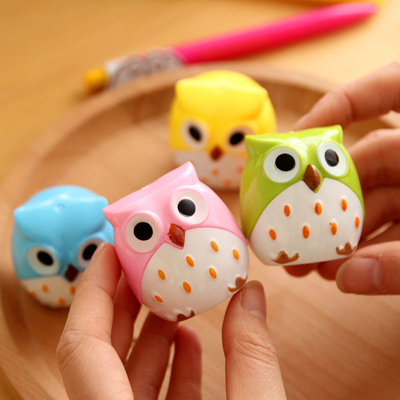 4 Color Cute Kawaii Lovely Plastic Owl Automatic Pencil Sharpener Creative Stationery Gifts For Kids School Supplies