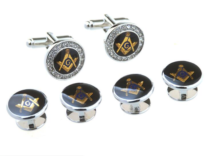 Silver Round Crystal Freemason Tuxedo Cufflinks Collar Studs Set 6pcs Set Masonic Free Mason Cuff Links Stud Set Men's Jewelry