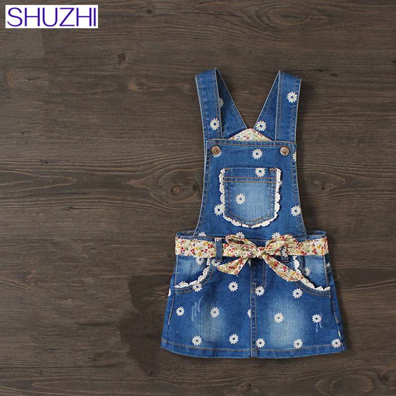 цена на SHUZHI New Baby Girls Denim Sundress Floral Kids Suspender Denim Dress Mini Sundress Kids All-match Dress