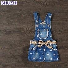 Фотография SHUZHI New Baby Girls Denim Sundress Floral Kids Suspender Denim Dress Mini Sundress Kids All-match Dress